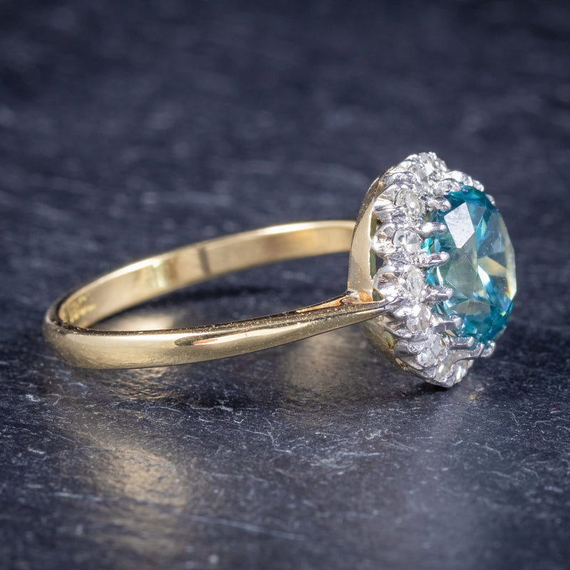 Antique Edwardian Blue Zircon Ring 18ct Gold Platinum Circa 1910 SIDE 2