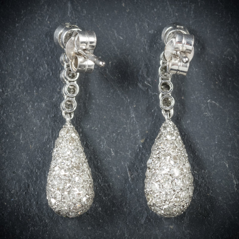 Antique Edwardian Diamond Drop Earrings 18ct White Gold Circa 1910 back