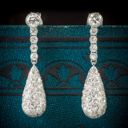 Antique Edwardian Diamond Drop Earrings 18ct White Gold Circa 1910 cover