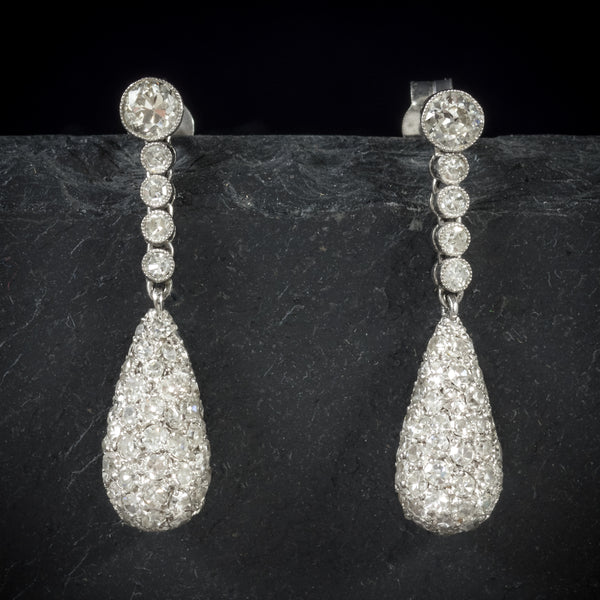 Antique Edwardian Diamond Drop Earrings 18ct White Gold Circa 1910 front