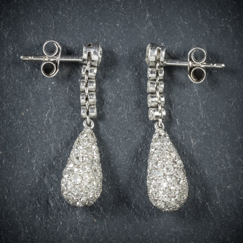 Antique Edwardian Diamond Drop Earrings 18ct White Gold Circa 1910 side