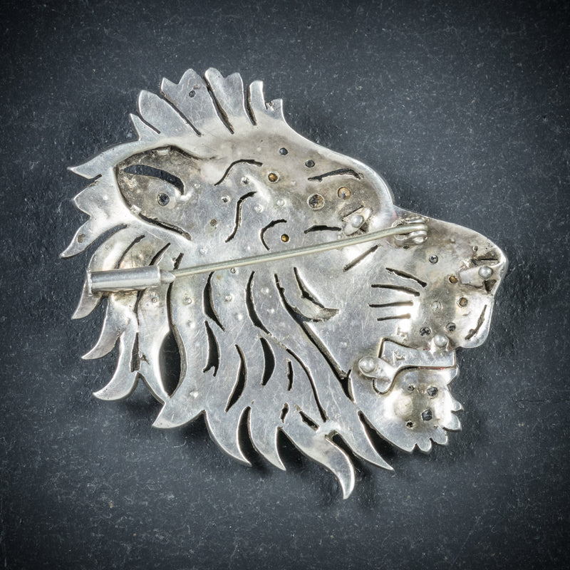 Antique French Lion Brooch Silver Onyx Paste Circa 1860 BACK