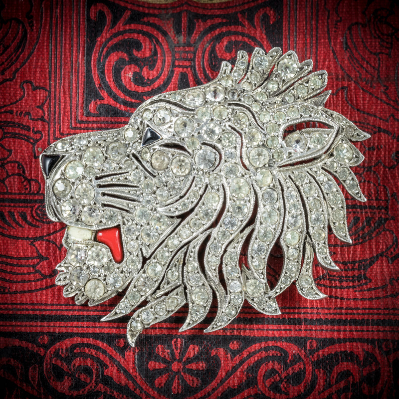 Antique French Lion Brooch Silver Onyx Paste Circa 1860 COVER