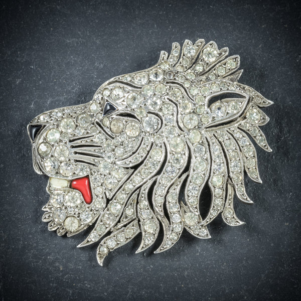 Antique French Lion Brooch Silver Onyx Paste Circa 1860 FRONT