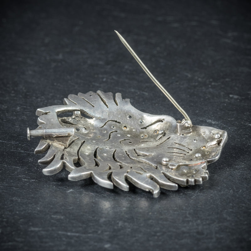 Antique French Lion Brooch Silver Onyx Paste Circa 1860 PIN UP