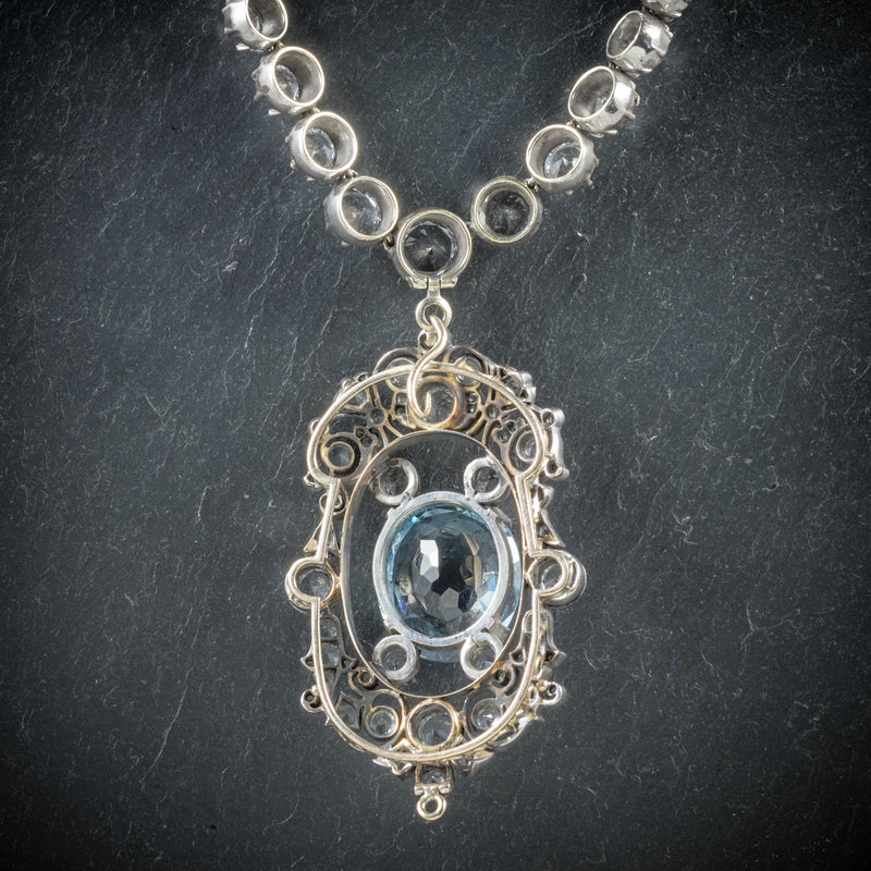 Antique French Victorian Blue Topaz Pendant Necklace Collar Boxed Circa 1900 back
