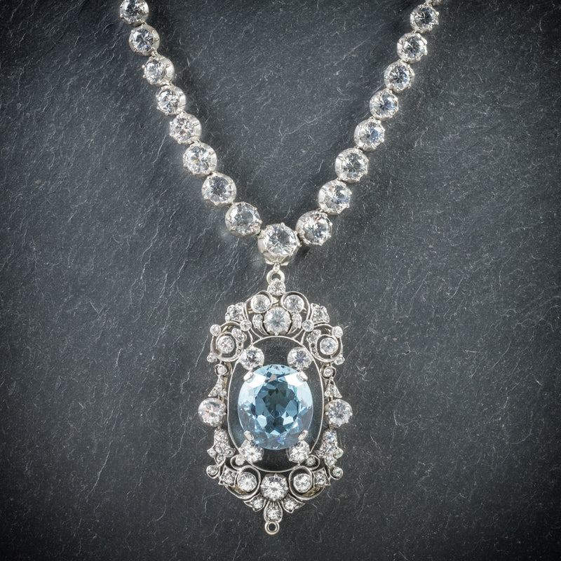Antique French Victorian Blue Topaz Pendant Necklace Collar Boxed Circa 1900 front