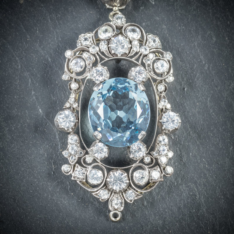 Antique French Victorian Blue Topaz Pendant Necklace Collar Boxed Circa 1900 pendant