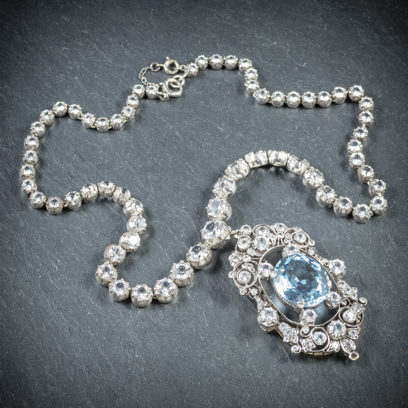Antique French Victorian Blue Topaz Pendant Necklace Collar Boxed Circa 1900 top
