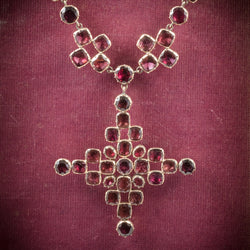 Antique Georgian Garnet Collar Cross Pendant 18ct Gold Circa 1770 cover