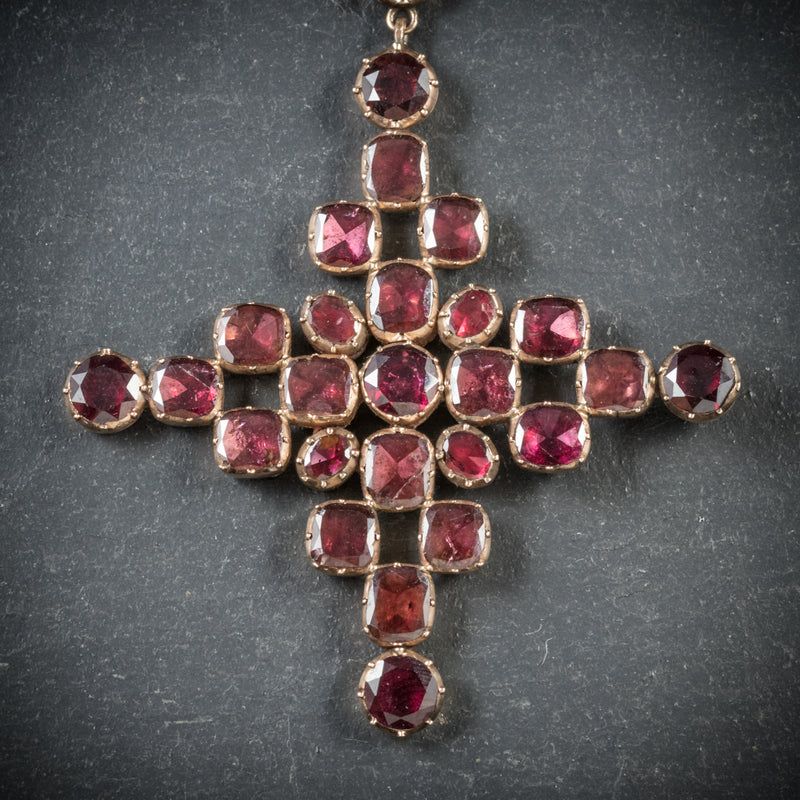 Antique Georgian Garnet Collar Cross Pendant 18ct Gold Circa 1770 cross