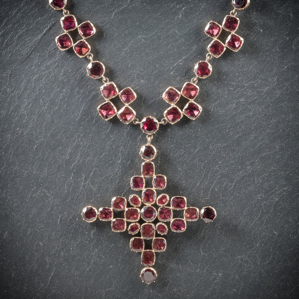 Antique Georgian Garnet Collar Cross Pendant 18ct Gold Circa 1770 front
