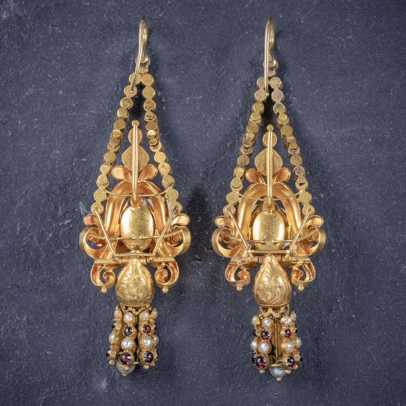 Antique Georgian Garnet Pearl Drop Earrings 18ct Gold Circa 1800 BACK
