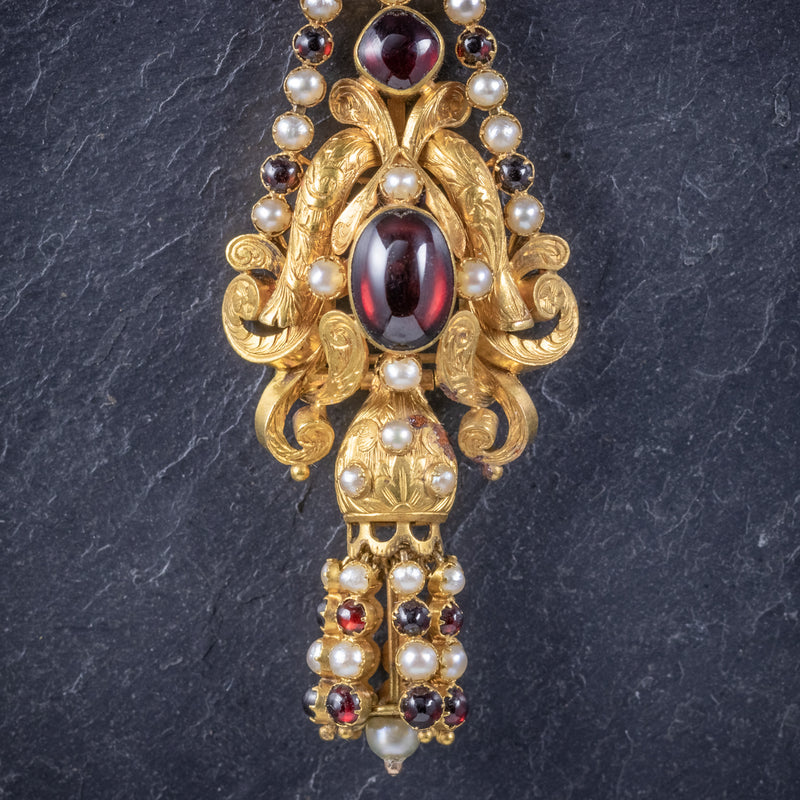 Antique Georgian Garnet Pearl Drop Earrings 18ct Gold Circa 1800 CLOSEUP