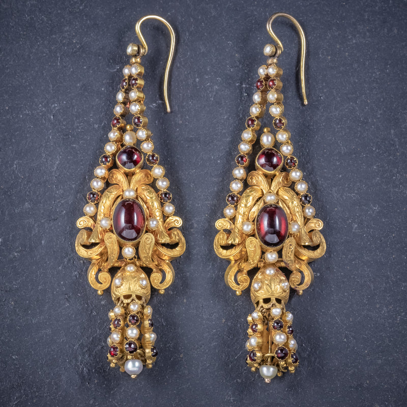 Antique Georgian Garnet Pearl Drop Earrings 18ct Gold Circa 1800 FRONT 2