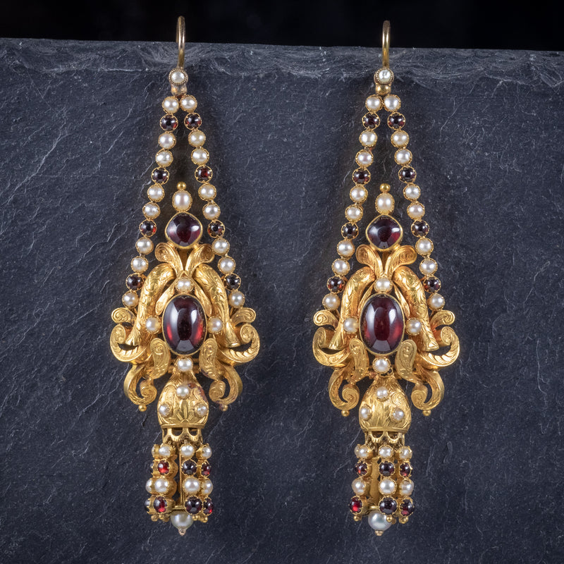 Antique Georgian Garnet Pearl Drop Earrings 18ct Gold Circa 1800 FRONT