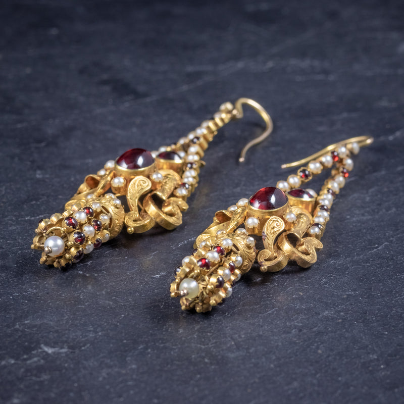 Antique Georgian Garnet Pearl Drop Earrings 18ct Gold Circa 1800 SIDE