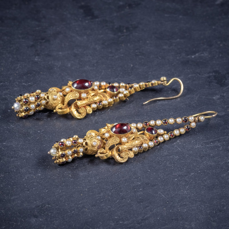 Antique Georgian Garnet Pearl Drop Earrings 18ct Gold Circa 1800 SIDE 2