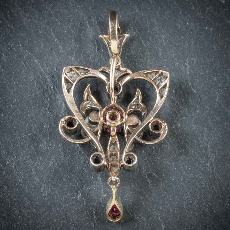 Antique Georgian Ruby Diamond Pendant Platinum Circa 1800 BACK