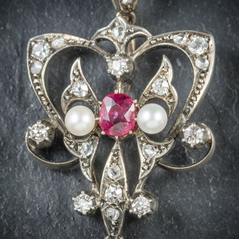 Antique Georgian Ruby Diamond Pendant Platinum Circa 1800 CLOSE UP