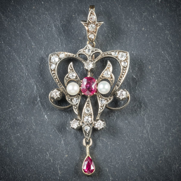 Antique Georgian Ruby Diamond Pendant Platinum Circa 1800 FRONT