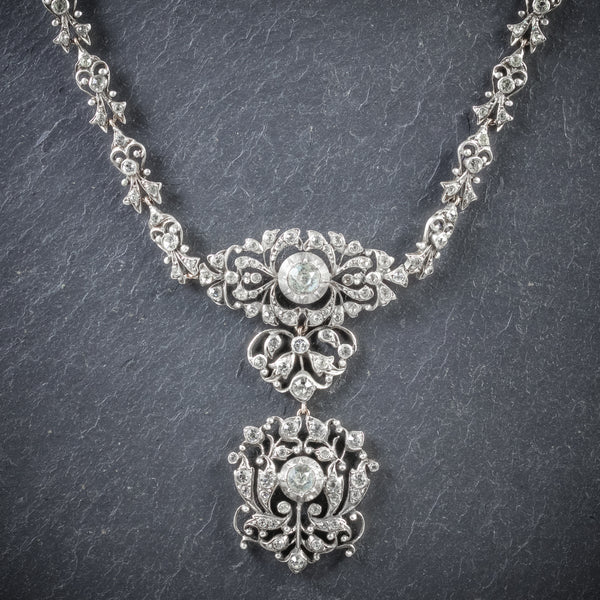Antique Georgian Silver Paste Necklace Circa 1800 FRONT