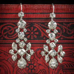 Antique Georgian Silver Paste Stone Drop Earrings Circa 1800