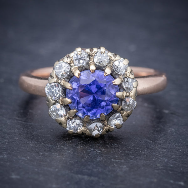 Antique Victorian Ceylon Sapphire Diamond Ring 18ct Gold Circa 1900 FRONT