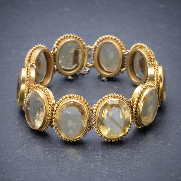 ANTIQUE VICTORIAN CITRINE BRACELET GOLD GILT ON SILVER CIRCA 1900 FRONT