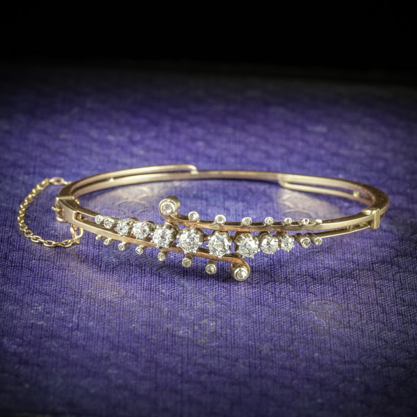 Antique Victorian Diamond Bangle 14ct Gold Circa 1860 COVER