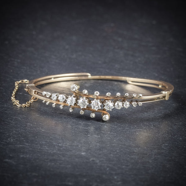 Antique Victorian Diamond Bangle 14ct Gold Circa 1860 FRONT