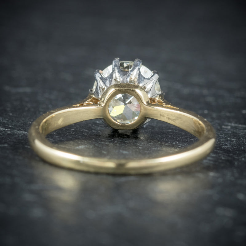 Antique Victorian Diamond Engagement Ring 18ct Gold Circa 1900 back