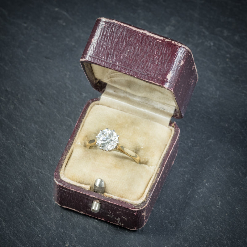Antique Victorian Diamond Engagement Ring 18ct Gold Circa 1900 box