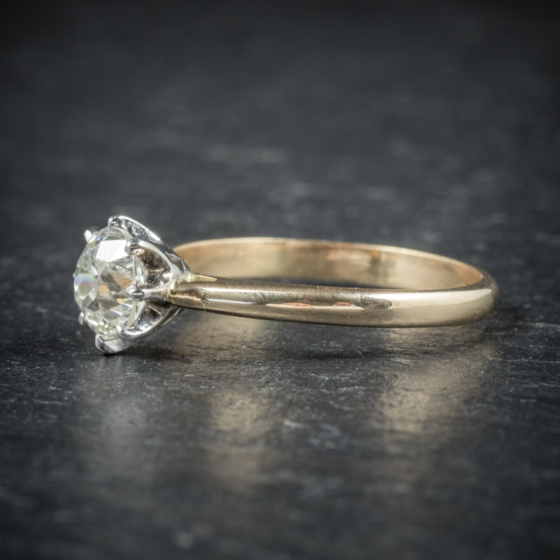 Antique Victorian Diamond Engagement Ring 18ct Gold Circa 1900 side