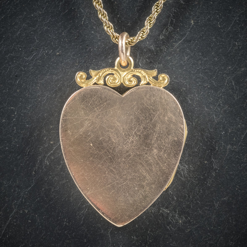Antique Victorian Diamond Heart Locket Necklace 15ct Gold Circa 1880 back
