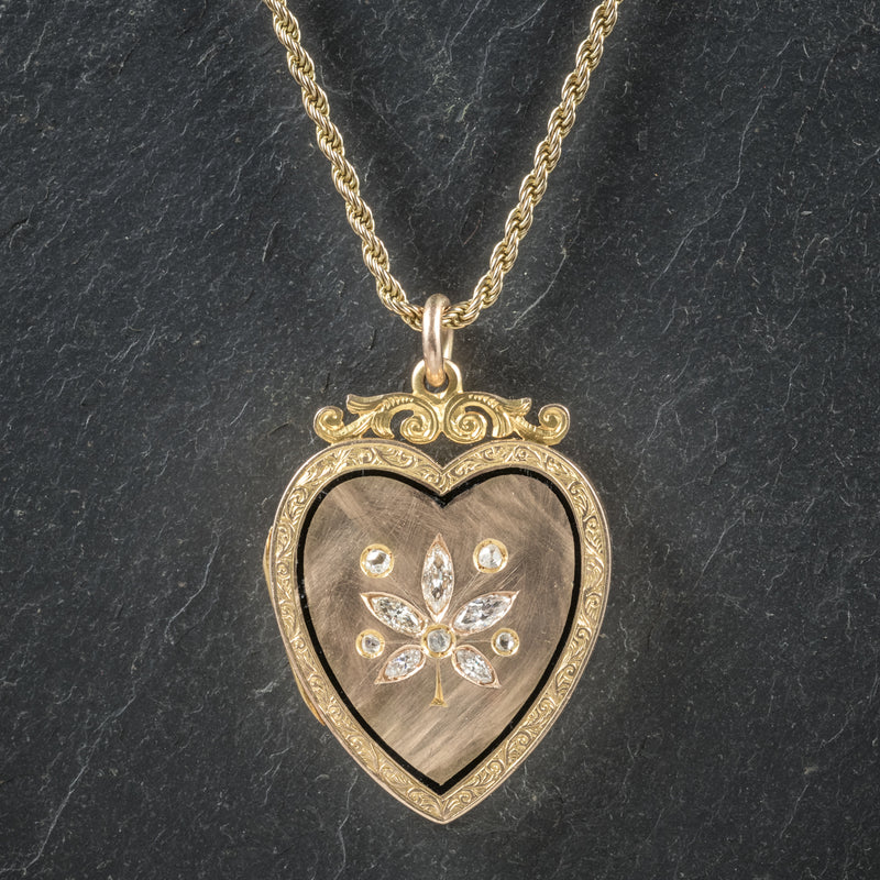 Antique Victorian Diamond Heart Locket Necklace 15ct Gold Circa 1880 front