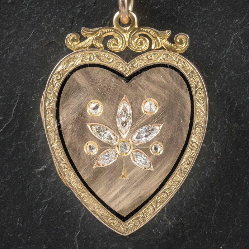 Antique Victorian Diamond Heart Locket Necklace 15ct Gold Circa 1880 heart