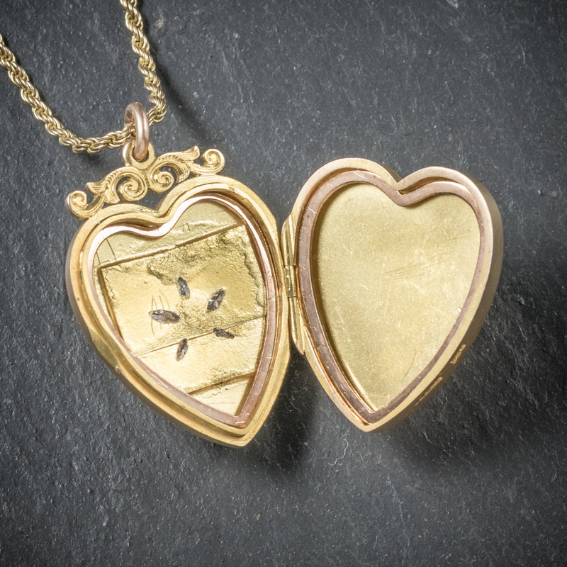 Antique Victorian Diamond Heart Locket Necklace 15ct Gold Circa 1880 open