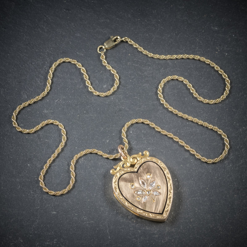 Antique Victorian Diamond Heart Locket Necklace 15ct Gold Circa 1880 top