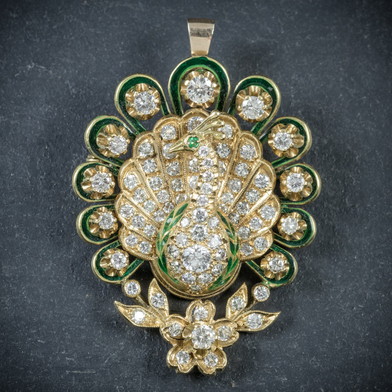 Antique Victorian Diamond Peacock brooch 18ct Gold Circa 1900 front