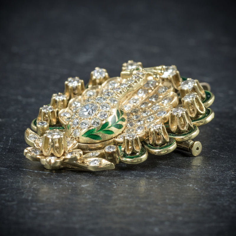 Antique Victorian Diamond Peacock brooch 18ct Gold Circa 1900 side2