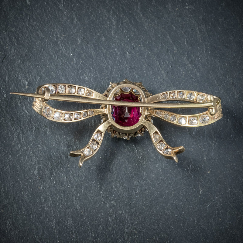Antique Victorian Diamond Ruby Brooch 18ct Gold Circa 1900 back