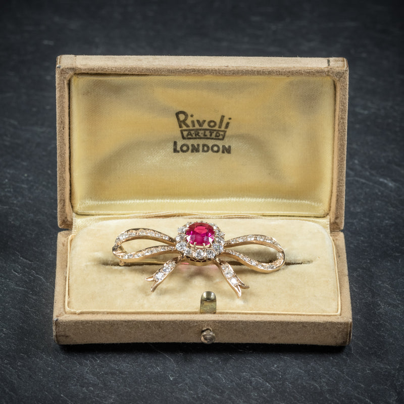 Antique Victorian Diamond Ruby Brooch 18ct Gold Circa 1900 box open
