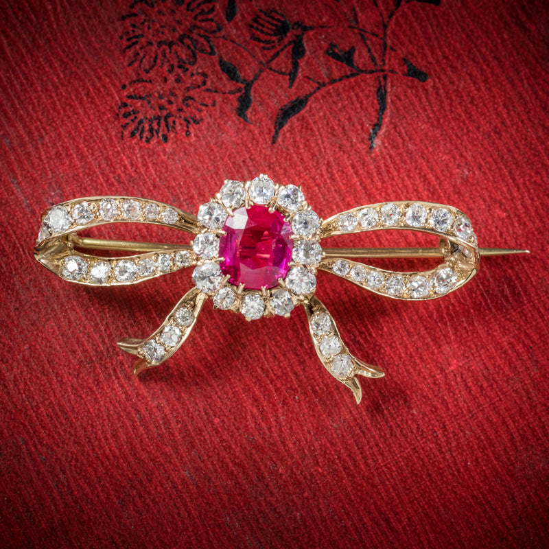 Antique Victorian Diamond Ruby Brooch 18ct Gold Circa 1900 cover