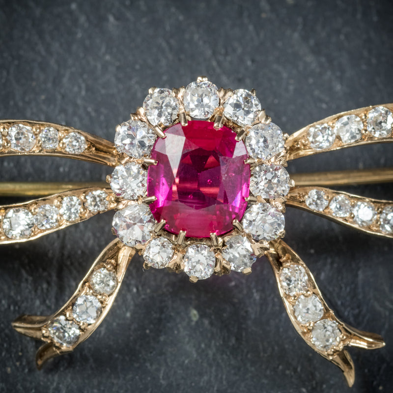 Antique Victorian Diamond Ruby Brooch 18ct Gold Circa 1900 ruby