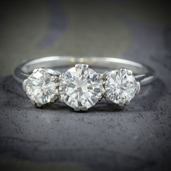 Antique Victorian Diamond Trilogy Ring Platinum Circa 1900 COVER