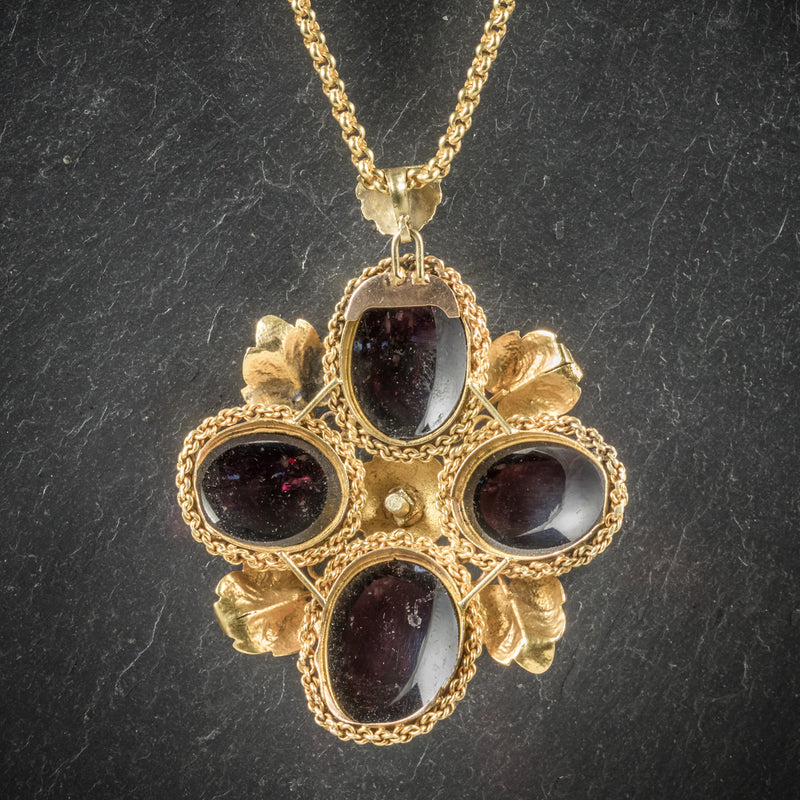 Antique Victorian Garnet Diamond Pendant Necklace 18ct Gold Circa 1900 BACK