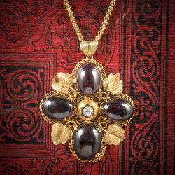 Antique Victorian Garnet Diamond Pendant Necklace 18ct Gold Circa 1900 COVER