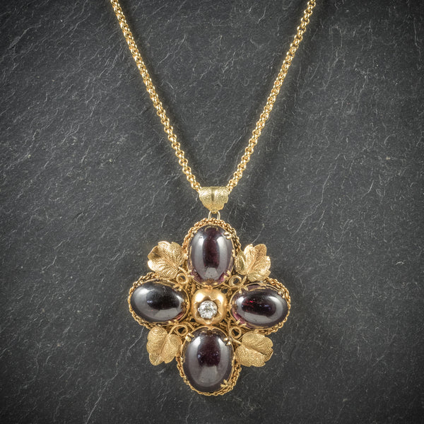 Antique Victorian Garnet Diamond Pendant Necklace 18ct Gold Circa 1900 FRONT