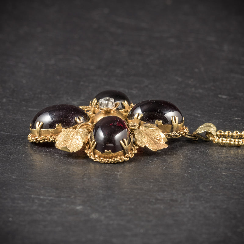 Antique Victorian Garnet Diamond Pendant Necklace 18ct Gold Circa 1900 SIDE